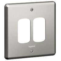 Legrand Synergy 833192 1 Gang 2 Module Grid Plate (Brushed Steel)