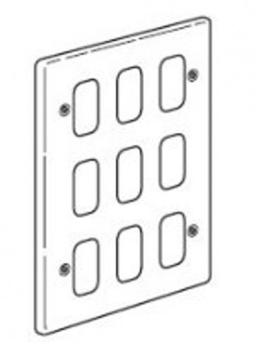 Legrand Synergy 833384 Frontplate, 3x2 Gang 9 Module Small Aperture, Polished Stainless Steel, Size: 207x146mm