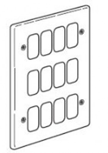 Legrand Synergy 833385 Frontplate, 3x2 Gang 12 Module Small Aperture, Polished Stainless Steel, Size: 207x146mm