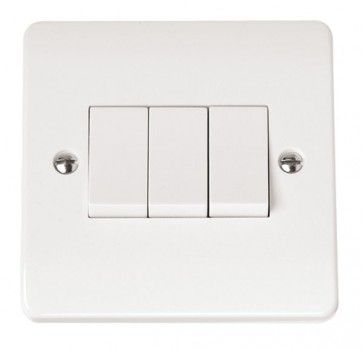 Scolmore CMA013 10AX 3 Gang 2 Way Plate Switch