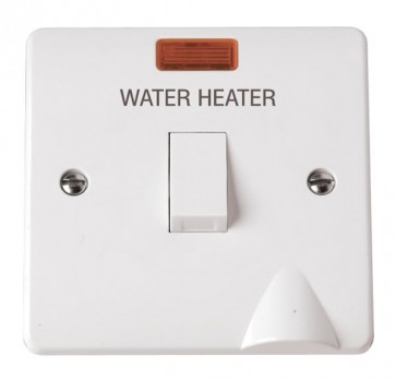 Scolmore CMA046 20A DP Water Heater Switch With Flex Outlet & Neon