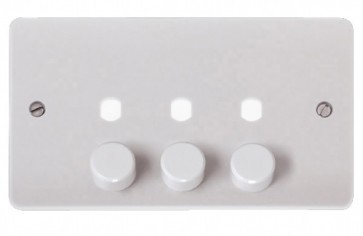 Scolmore CMA147PL 2 Gang Unfurnished Dimmer Plate & Knobs (1200W Max)