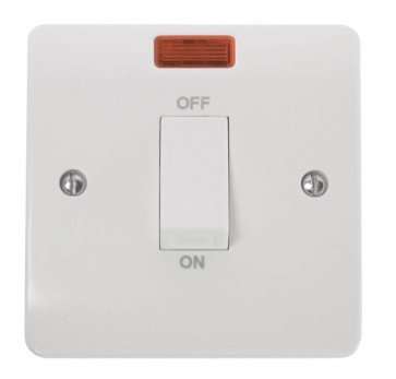 Scolmore CMA501 45A 1 Gang DP Switch With White Rocker & Neon