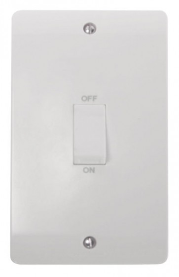 Scolmore CMA502 45A 2 Gang DP Switch With White Rocker