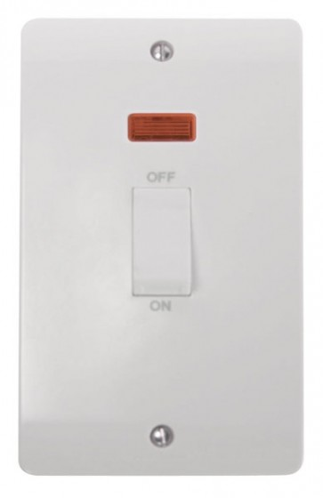 Scolmore CMA503 45A 2 Gang DP Switch With White Rocker & Neon