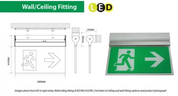 Channel Safety Systems Razor Wall/Ceiling Mounted LED exit signage - E/RZ/M3/LED/W