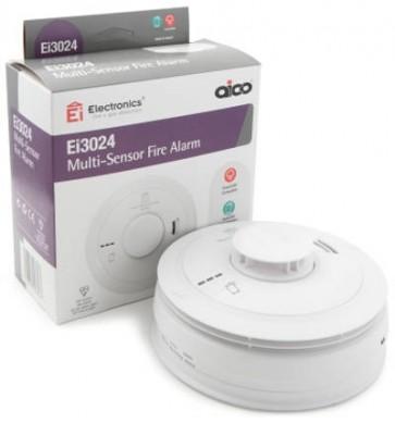 Aico EI3024 Alarm, Fire Multi-Sensor Mains, 10Yr Lithium Back-up Easi-fit Base