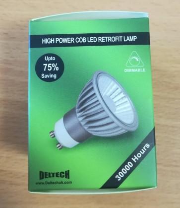 Deltech GU10-COBD6GRN High Power LED 6W Dimmable GU10 GREEN Spotlight bulb