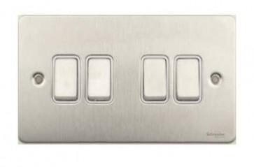 Schneider GU1242WSS Ultimate Flat plate - 1-pole 2-way plate switch - 4 gangs - stainless steel