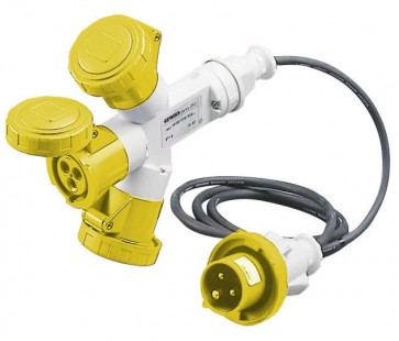 Gewiss GW64050 Socket, 3-Outlet c/w 2M Cable + Plug 2P+E, Watertight, Size: 16A 110V