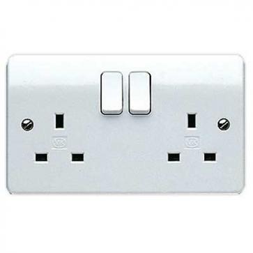 MK Logic K2747WHI 2 Gang 13A Switched DP Socket