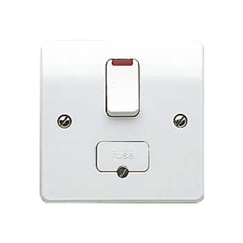 MK Logic K370WHI 13A DP Switched Fused Neon, c/w Base Flex Outlet Connection Unit