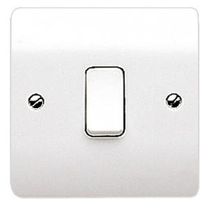 MK Logic K4870WHI 1 Gang 10A 1 Way SP Plate Switch