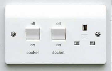 MK Logic K5060WHI 13A Cooker Control Switch, DP Main Switch & Socket, Flush