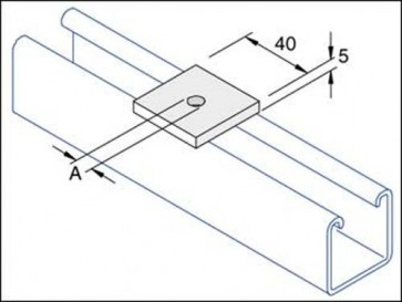Unistrut Channel P1019, Washer, Square Plate, Size:M6/M8x41x5mm