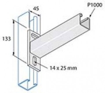 Unistrut Channel P2663/600 Cantilever Arm, for P1000 Channel, Size: 41x41 Plain 600mm