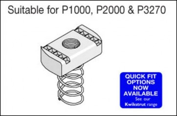 Unistrut Channel PNL10ZP, Channel Nut, Long Spring, Size: M10