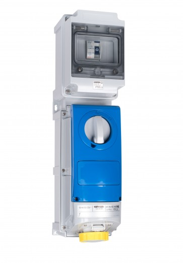 Gewiss UK01442 Interlock Socket 16A 110V 2P+E, c/w 25A RCD