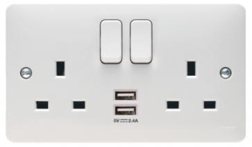 Hager Sollysta WMSS82USB Socket, 2 Gang DP Swd c/w Twin USB, Plate Only, Size: 13A 146x86x39.5mm