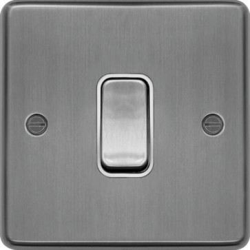 Hager WRDP84BSW 20A Double Pole Switch Brushed Steel White Insert