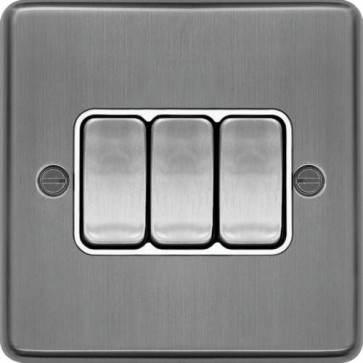 Hager WRPS32BSW 10AX 3 Gang 2 Way Wall Switch Brushed Steel White Insert