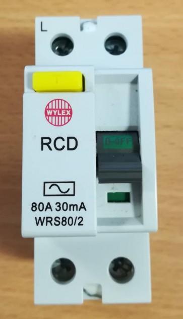 Wylex WRS80/2, 2 POLE RCDs – TYPE AC, Size: 80A 30mA
