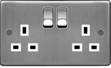 Hager WRSS82BSW 13A 2 Gang Double Pole Switched Socket Brushed Steel White Insert