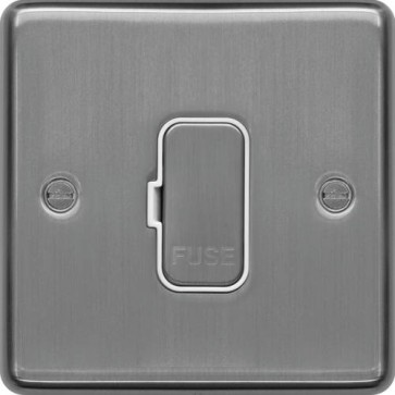 Hager WRSU83BSW 13A FCU Unswitched Brushed Steel White Insert