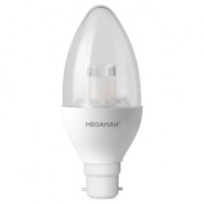 Megaman 143806 6W LED Candle Dim to Warm 2800K-1800K B22 Lamp