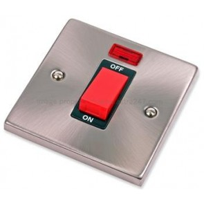 VPSC201BK Click Deco Victorian Satin Chrome 1 Gang 45A DP Switch and Neon