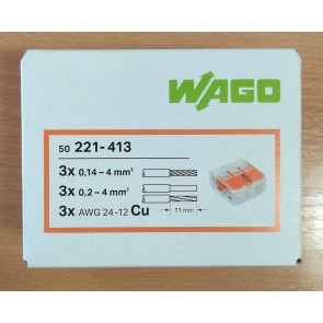 WAGO 221-413 Connector, Splicing 3 Way Compact c/w Levers (box of 50)