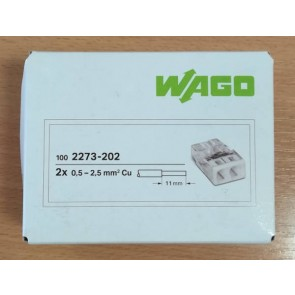 WAGO 2273-202 Connector, Push-Wire 2 Conductor, for Junction Boxes (Box of 100)