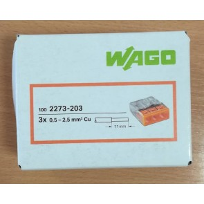 WAGO 2273-203 Connector, Push-Wire 3 Conductor, for Junction Boxes ( Box of 100)