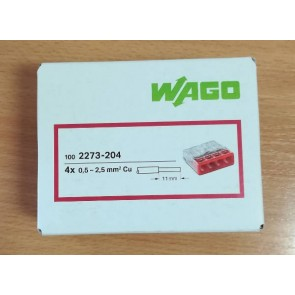 WAGO 2273-204 Connector, Push-Wire 4 Conductor, for Junction Boxes ( Box of 100)
