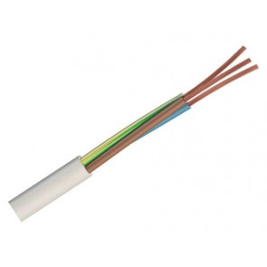 0.75mm² 3093Y 3 Core Heat Resisting PVC Insulated and Sheathed Flexible Cable, White