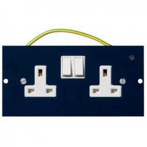 Mita INS55300 Floor Box Twin Switched Dual/Clean Socket, 3 Comp, 13A 32mm x 87mm x 173mm