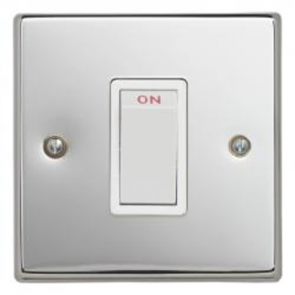 Contactum S3756PCW 1 Gang 45A DP Red Switch (1 Gang Plate) - Polished Chrome, White Insert