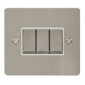 Scolmore Define FPSS413WH  Ingot Plate Switch 10A 3G 2 Way White Insert