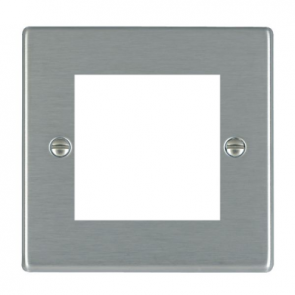 Hamilton Hartland 74EURO2 Single Frontplate c/w 2 EuroFix Apertures and Grid Satin Steel