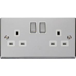 VPCH536WH Click Deco White Insert Victorian Polished Chrome 2 Gang 13A DP Switched Socket Outlet