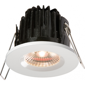 ML Accessories VFRCOBWW LED Fire Rated Downlight 3000K Warm White IP65 7W comes with Dimmable Driver and White Bezel