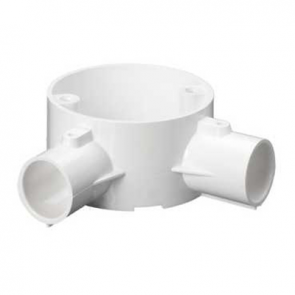 Mita 20CJB4W Angle 2 Way Circular Box for Rigid Conduit 20mm White