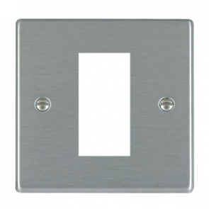 Hamilton Hartland 74EURO1 Single Frontplate c/w 1 EuroFix Apertures and Grid Satin Steel
