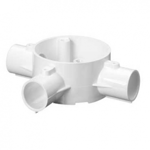 Mita 20CJB5W Tee 3 Way Circular Box for Rigid Conduit 20mm White