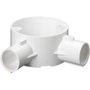 Mita 25CJB4W Angle 2 Way Circular Box for Rigid Conduit 25mm White