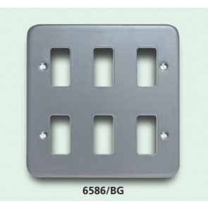 Crabtree 6586/BG 6 GANG SURFACE METALCLAD GRID PLATE BIRCH GREY