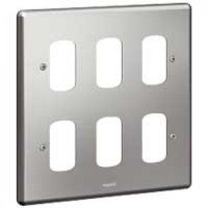 Legrand Synergy 733182 2 x 2 Gang 6 Module Grid Plate Brushed Steel