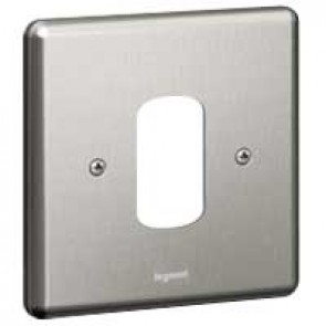Legrand Synergy 733391 1 Gang 1 Module Grid Plate Polished Steel