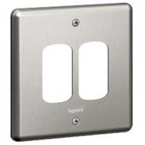 Legrand Synergy 733392 1 Gang 2 Module Grid Plate Polished Steel