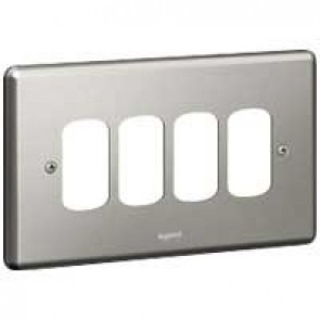 Legrand Synergy 833194 2 Gang 4 Module Grid Plate (Brushed Steel)